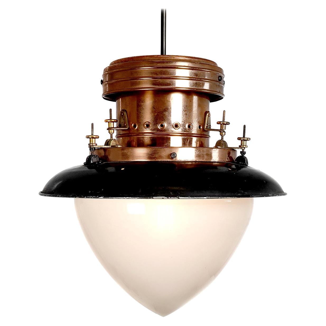Unique Gas Lamp in Polished Copper and Large Acorn Shade