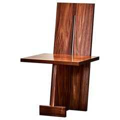 Unique GB102 Walnut Chair Sculpted by Gregory Besson
