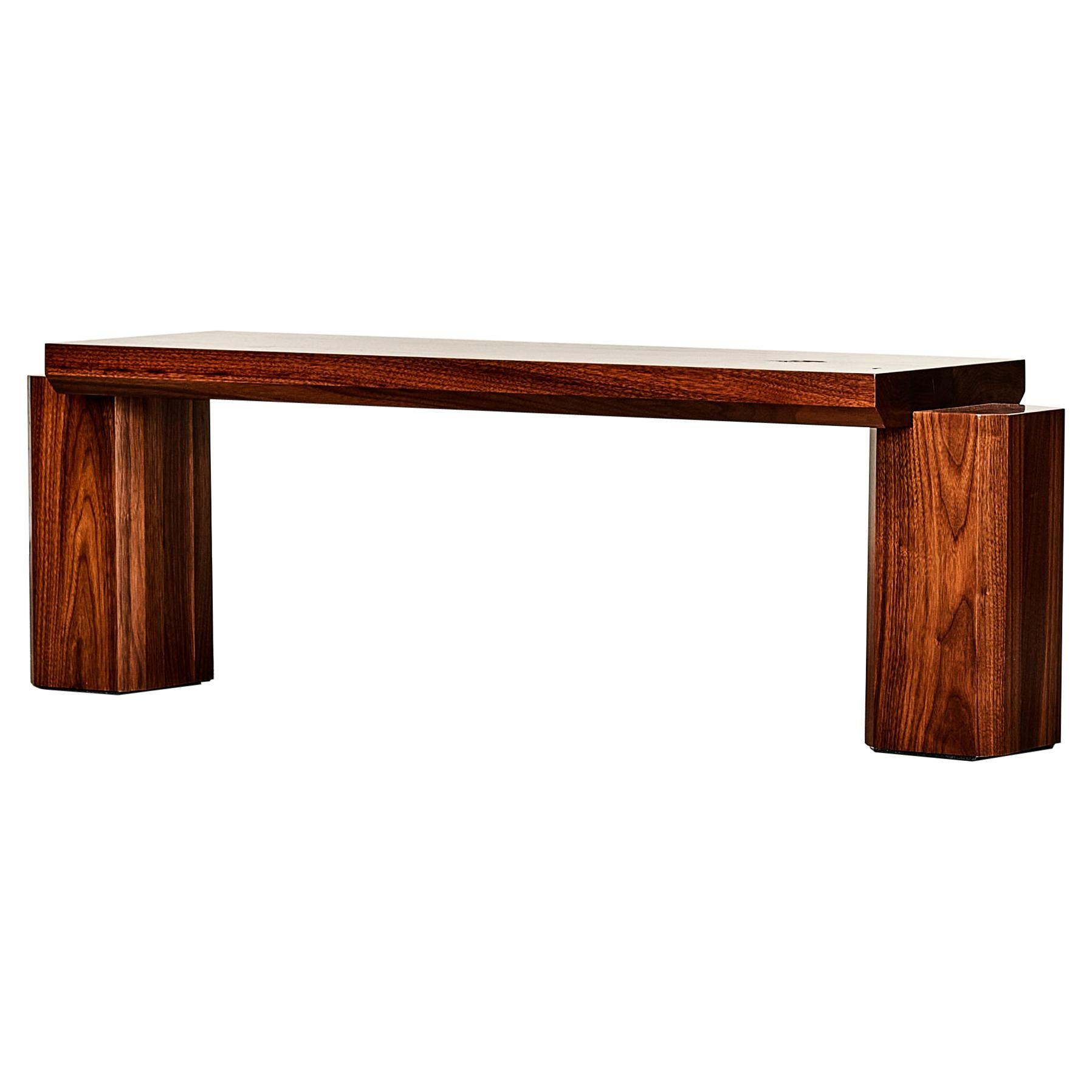 Unique GB402 Walnut Bench Sculpted by Gregory Beson