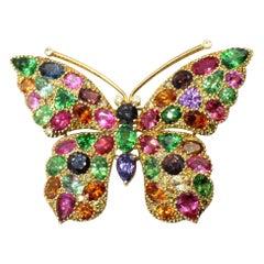 Unique Gem Set 18 Karat Gold Butterfly Brooch