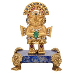 Unique Gem-Set Gold Inca Warrior Brooch with Pedestal