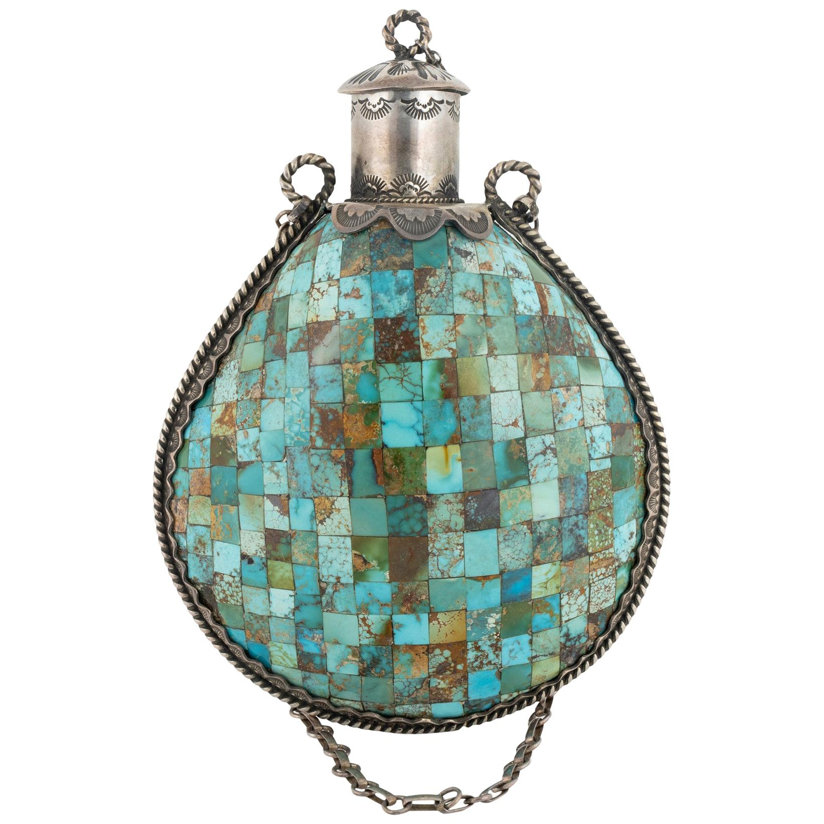 Unique Genuine Sterling and Turquoise Tobacco Flask
