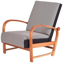 Unique German Thonet Positioning Armchair, Walnut, New Upholstery, 1930 - 1939