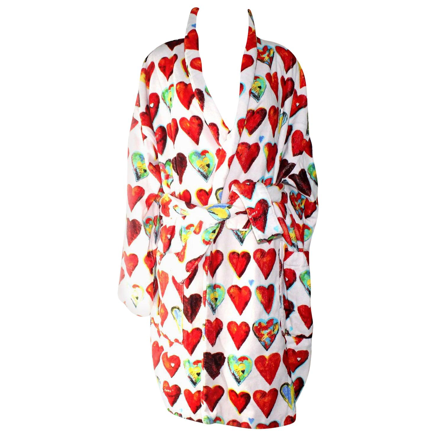 Unique Gianni Versace Hearts Print Terrycloth Terry Towel Bathrobe Coat Robe