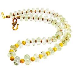 Unique Glittering Praziolite, Green Amethyst, Necklace