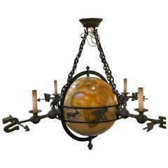 Unique Globe and Bronze Chandelier