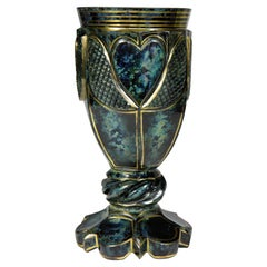 Unique Marble Glass Goblet from Lithyalin around 1900 Bohemian Glass