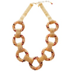 Unique Gold and red Murano glass beads, hand made necklace by Artist Paola B.