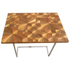 Unique Gold Straw Marquetry Coffee Side Table, France