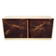 Unique Golden Lacquer Brass Maison Jansen Sideboard Commode, 1970s
