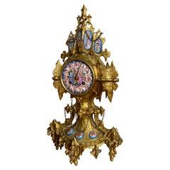Unique Gothic Revival Gilt Bronze Mantel or Table Clock w Rare Porcelain Plaques