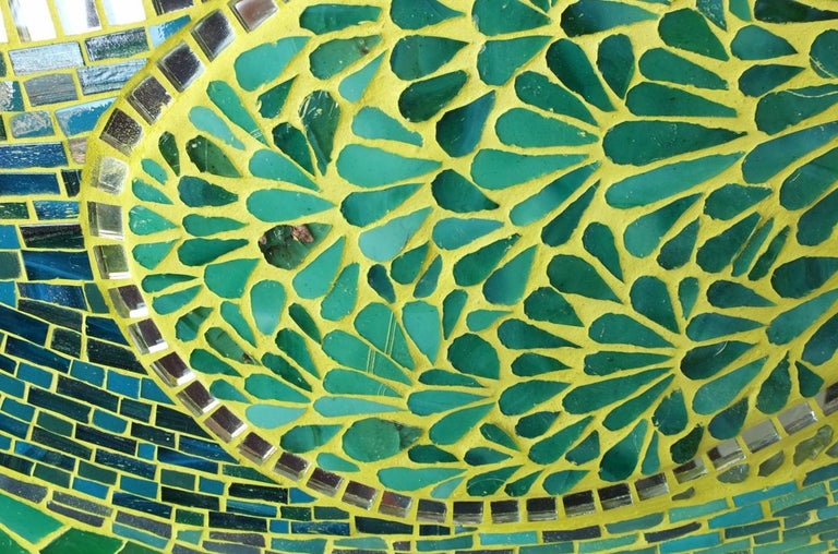 Art Deco Unique Green Big Mosaic Wall Mirror, France For Sale