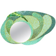 Green Mosaic Wall Mirror, large and uniqu,  France