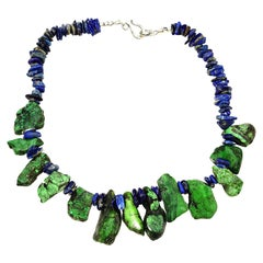 Unique Green Turquoise and Blue Lapis Lazuli Necklace
