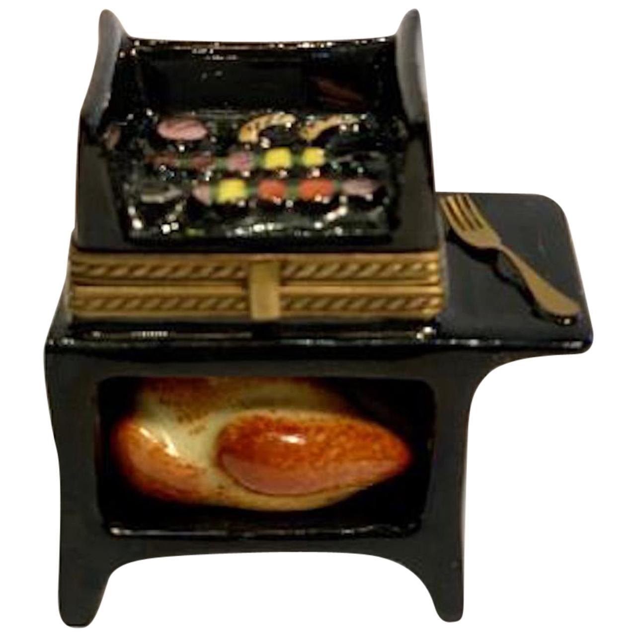 Unique Grill Master Limoges France Hand Painted Barbeque Porcelain Trinket Box