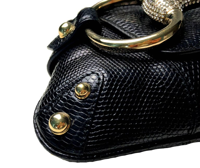 Unique Gucci Exotic Black Lizard Skin Crystallized Horsebit Clutch Bag  In Excellent Condition For Sale In Switzerland, CH