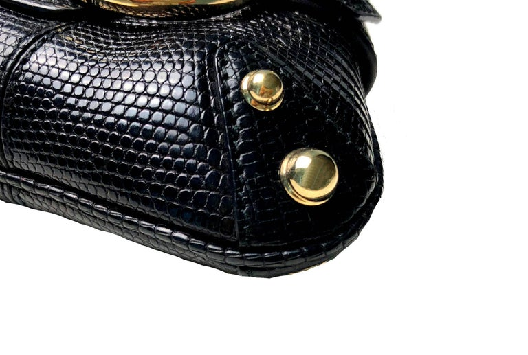 Women's Unique Gucci Exotic Black Lizard Skin Crystallized Horsebit Clutch Bag  For Sale