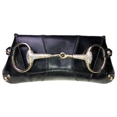 Unique Gucci Exotic Black Lizard Skin Crystallized Horsebit Clutch Bag
