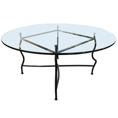 Unique Gun Finish Steel Base Dining Table with Glass Top