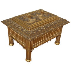 Unique Hand Carved and Gilt Oak Gothic Revival Church Reliquary Casket with Lid