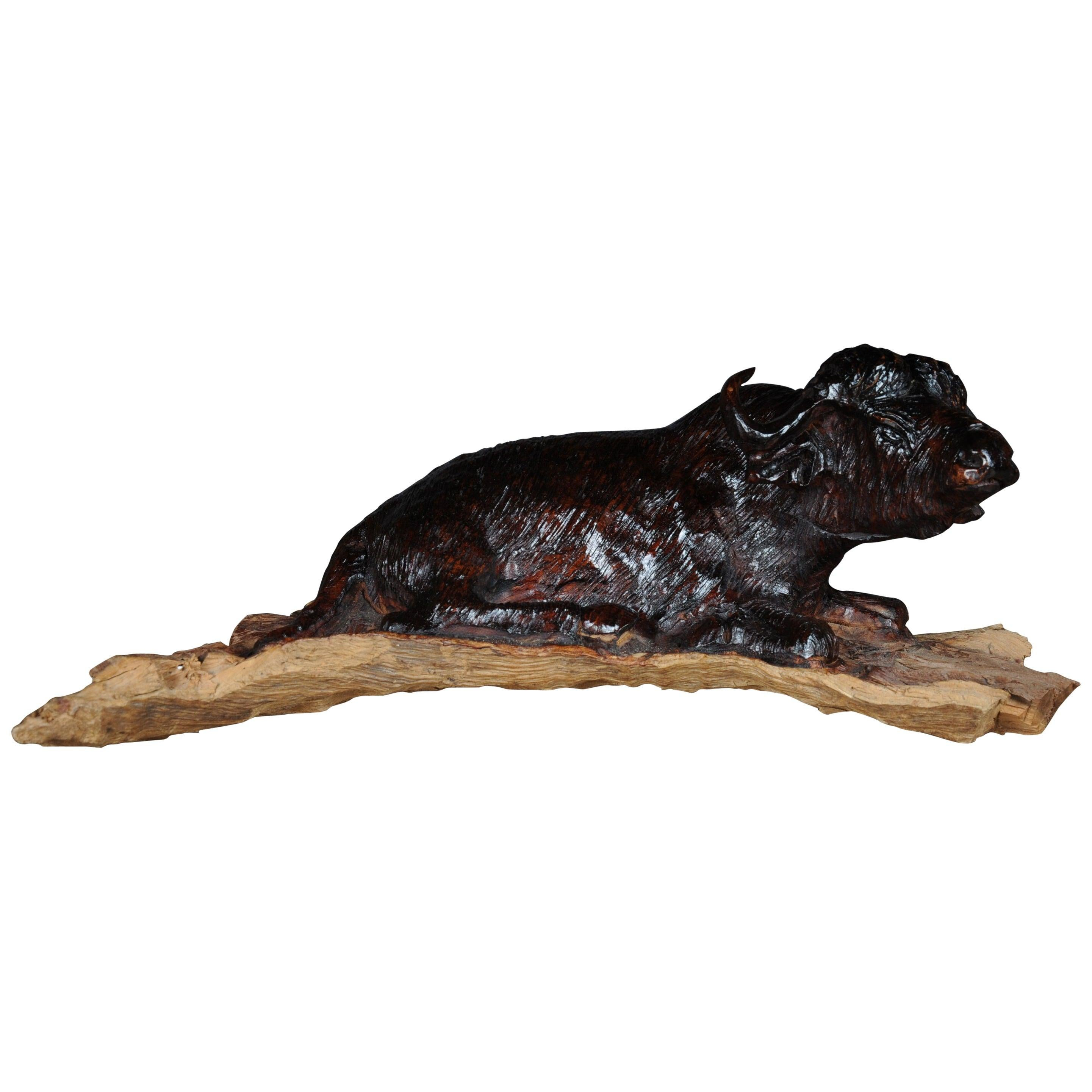 Unique Hand Carved Animal Sculpture Bison Made of Solid Wood