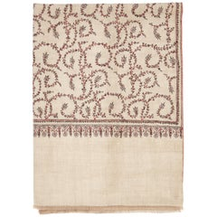 Unique Hand Embroidered Cashmere Shawl in Natural Taupe Made in Kashmir India