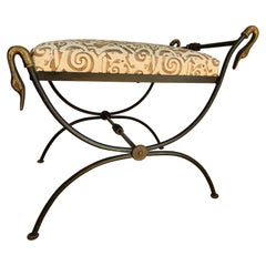 Unique Hand Forged Iron Bench, Cast Bronzed Details, Upholstered in Fortuny