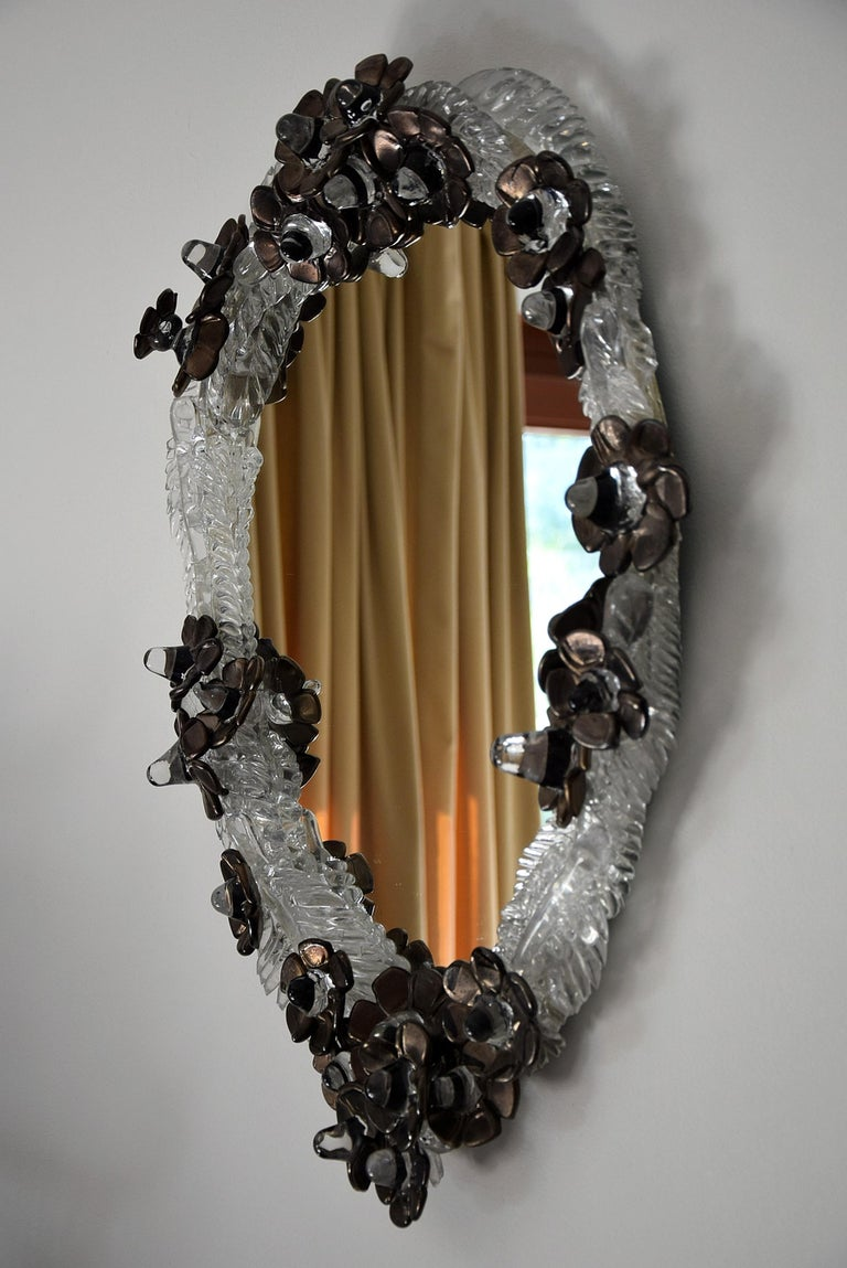 Unique Handmade Glass Mirror by Artist Debby Eerens In New Condition For Sale In Weesp, NL