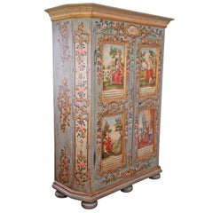 "Unique Hand-Painted Rustic Cupboard ""The Four Seasons"", Austria Dated 1817"