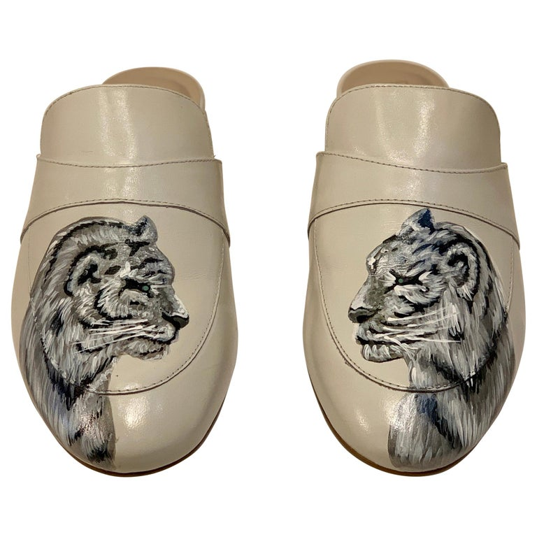Unique Hand Painted White Tiger Mule Shoes with Swarovski Crystal Eyes Size 10 For Sale