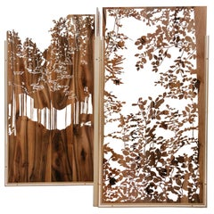 Unique Hand-Sculpted Walnut and Brass Screen by Clothilde Gosset