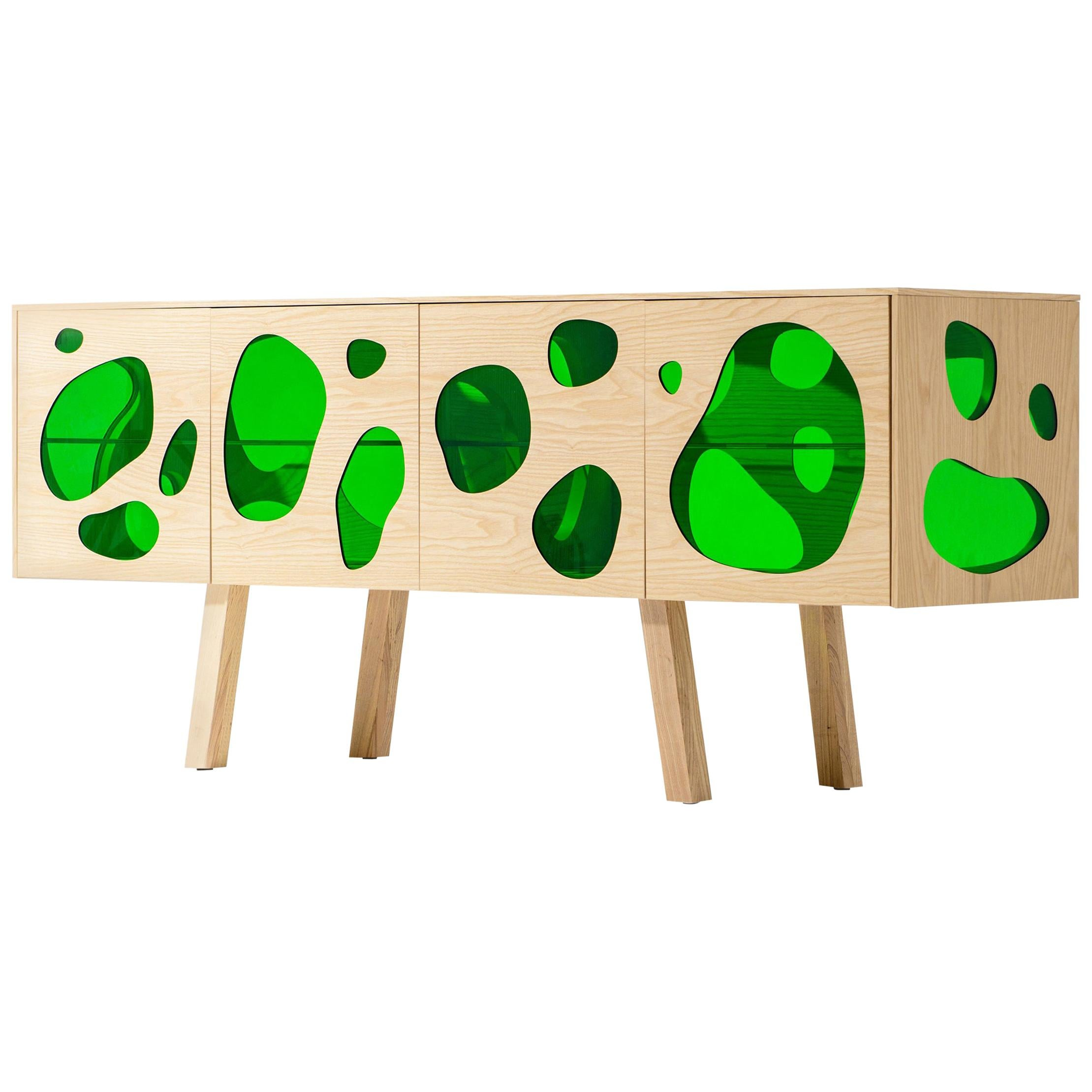 Unique Hand Signed Campana Brothers Sideboard Aquario Prototype Glass and Wood