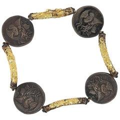 Unique Handcrafted by J.P. De Saedeleer Coin Bracelet 18 Karat Gold