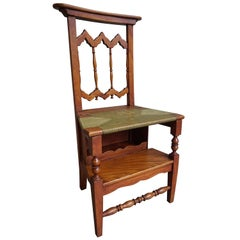 Unique Handcrafted Elmwood Gothic Revival Monastery Library Step / Reading Chair