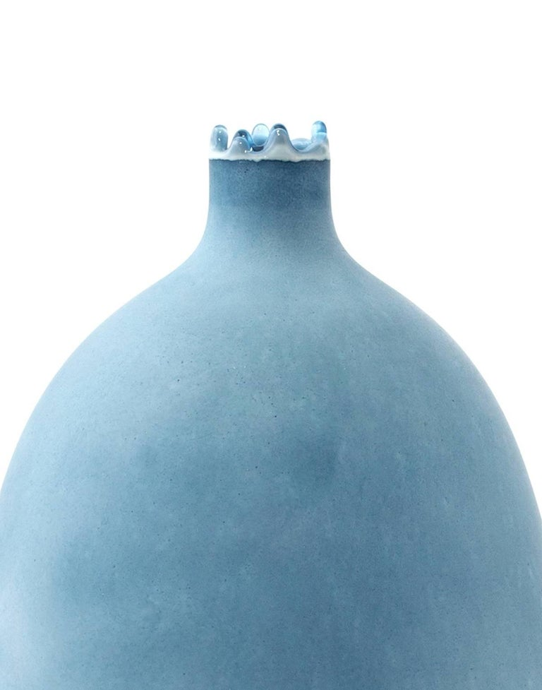 American Unique Handmade 21st Century Blue and Indigo Dip-Dyed Oblong Vase For Sale