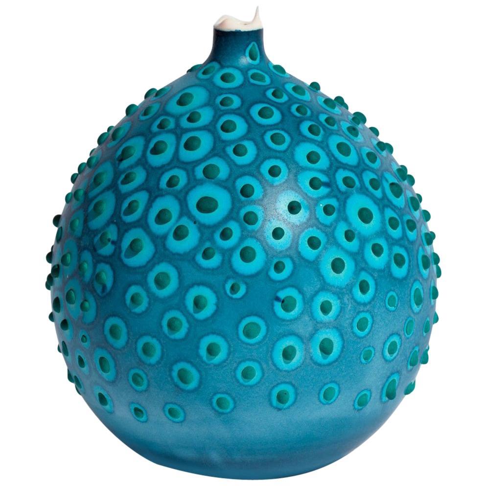 Unique Handmade 21st Century Bud Vase in Indigo and Forest Green