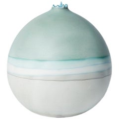 Unique Handmade 21st Century Glass Green and Sage Gray Dip-Dyed Round Vase