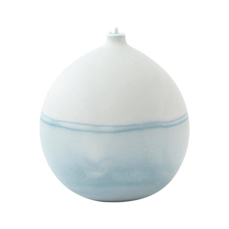 Unique Handmade 21st Century Ice Blue Dip-Dyed Bud Vase For Sale