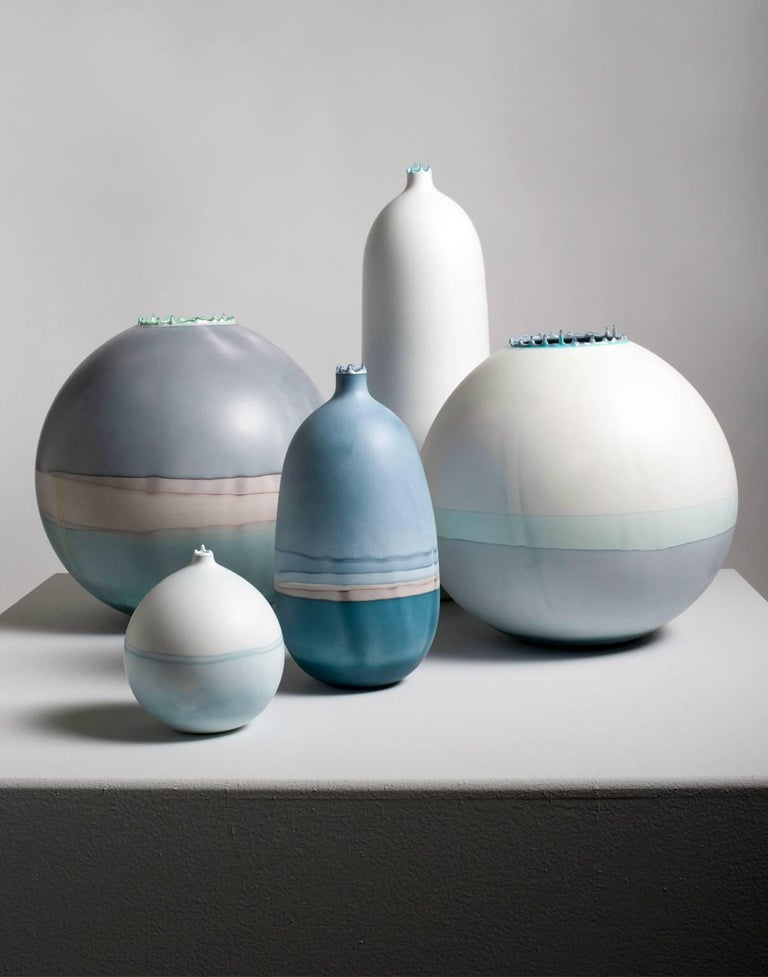 American Unique Handmade 21st Century Light Blue Dip-Dyed Large Round Vase For Sale