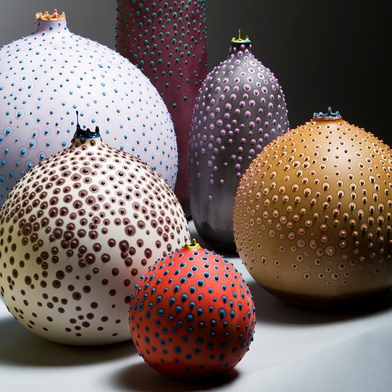 American Unique Handmade 21st Century Medium Round Hesse Vase in Ochre For Sale