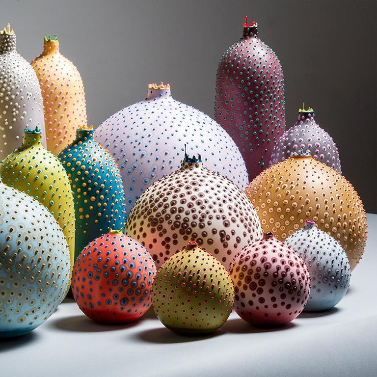 Cast Unique Handmade 21st Century Medium Round Hesse Vase in Ochre For Sale
