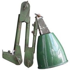 Unique Handmade English Mechanics Enamel Green Industrial Articulated Lamp