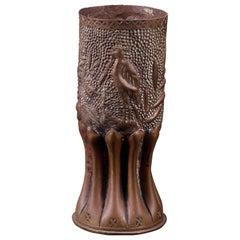Unique Handmade Engraved Bombshell Brass Vase