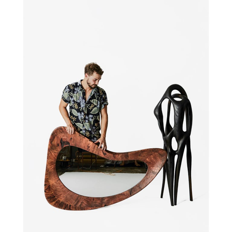 Contemporary Unique Handmade Walnut Portal Mirror by Maxime Goléo For Sale