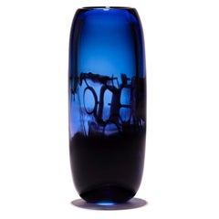 Unique Harvest Graal Blue and Black Glass Vase by Tiina Sarapu