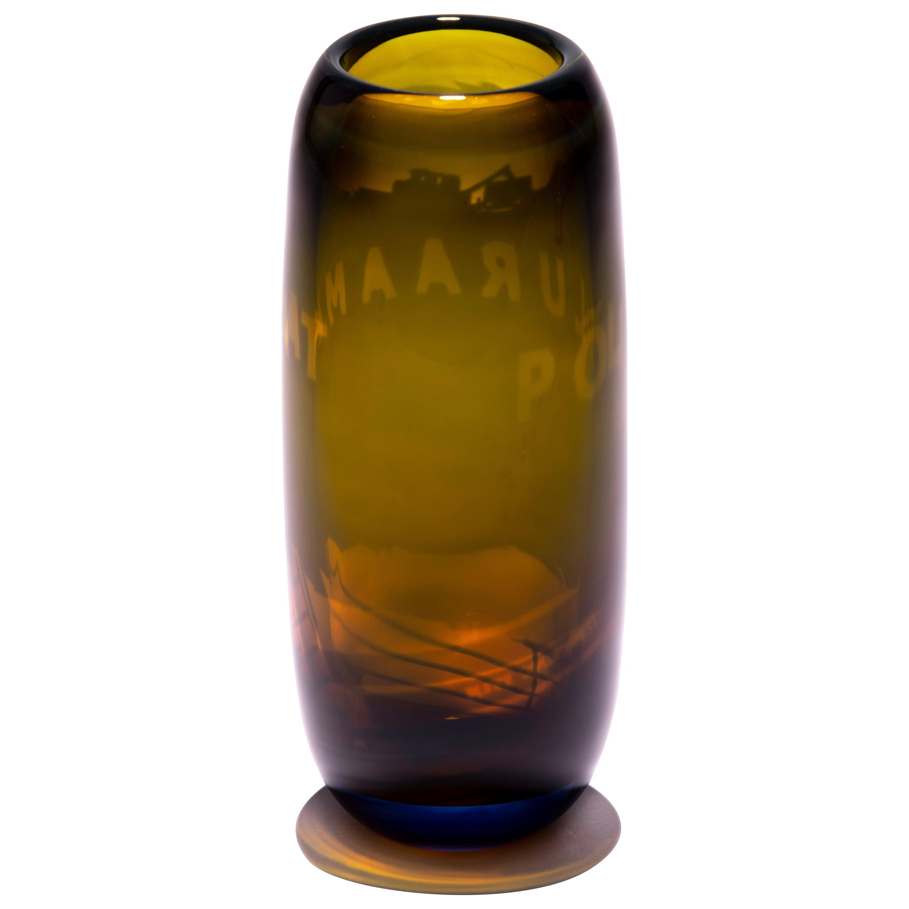 Unique Harvest Graal Brown Glass Vase by Tiina Sarapu