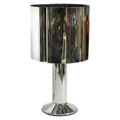 Unique Heavy, Huge XXL 1970s Metal Chrome Table Lamp with Metal Shade