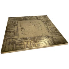 Unique Heckscher Etched Brass Abstract Artisan Made Coffee Table, Belgium 1970's