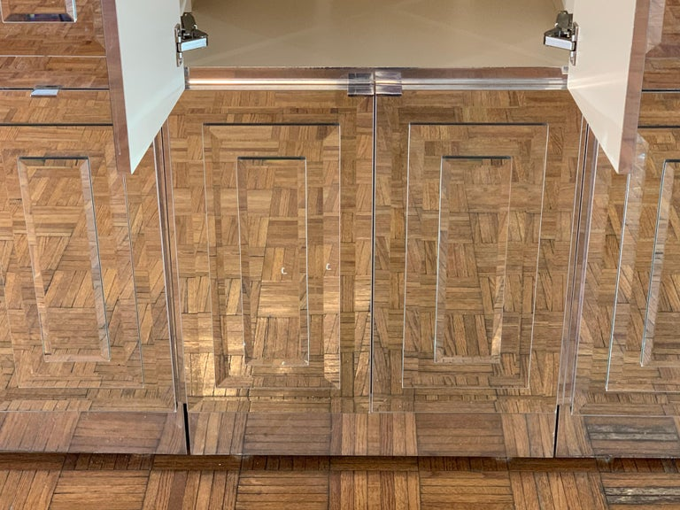 Unique Hollywood Regency Custom Ello Mirrored Breakfront or Sideboard with Bar For Sale 8