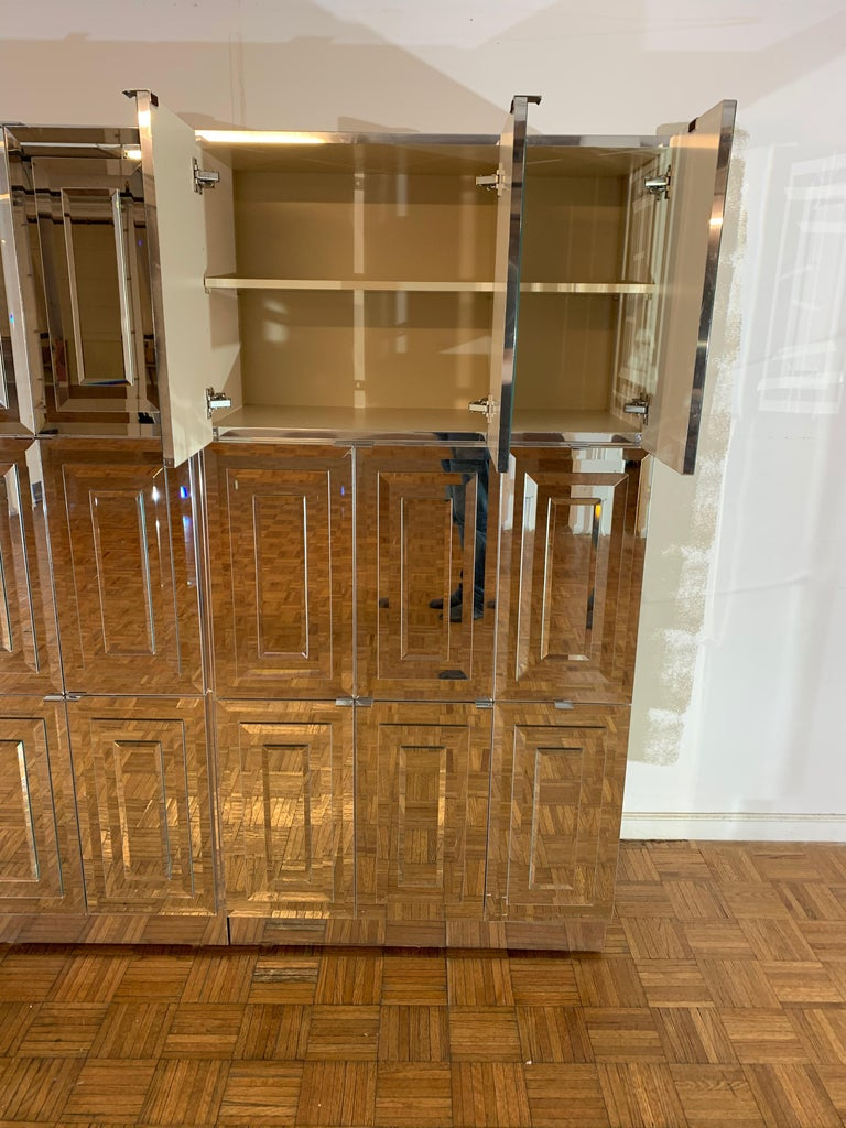 Unique Hollywood Regency Custom Ello Mirrored Breakfront or Sideboard with Bar For Sale 12